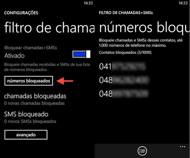 Configurações do bloqueio de chamadas (Foto: Reprodução/Helito Bijora)