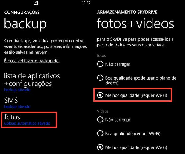 Opções de backup (Foto: Reprodução/Helito Bijora)