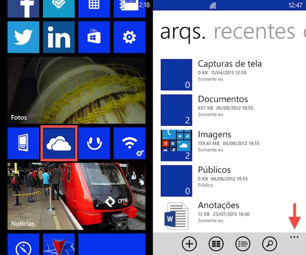 Acessando configurações do SkyDrive (Foto: Reprodução/Helito Bijora)
