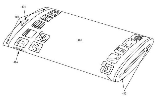Patente registrada pela Apple em 28 de março de 2013 mostra um iPhone com duas telas côncavas sobrepostas, simulando três dimensões (Foto: Reprodução)