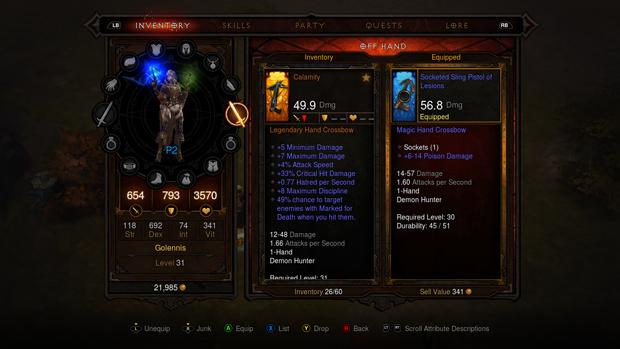 Inventário da versão dos consoles de Diablo 3. (Foto: Divulgação)