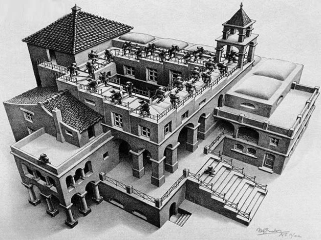 """Figura 1: Litogravura """"Subindo e descendo"""" de M. C. Escher"""