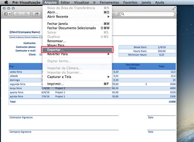 Exportando o arquivo através da pré-visualização do Mac OS X (Foto: Reprodução/Marvin Costa)