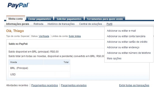Opção está disponível na aba de perfil (Foto: Reprodução Thiago Barros)