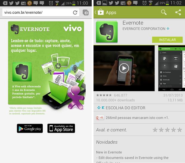 Download do  Evernote Premium pelo site da Vivo (Foto: Aline Jesus/Reprodução)