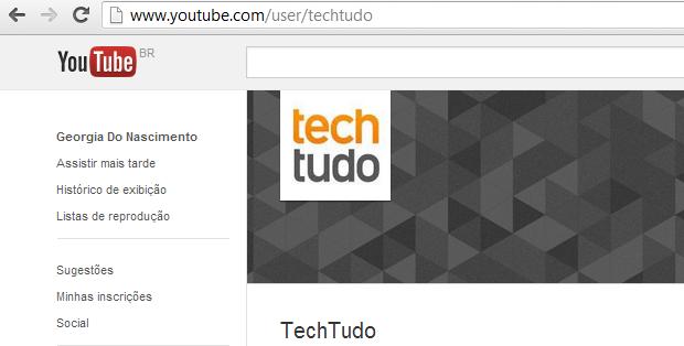 Pegue o nome do canal para achar seu feed (Foto: Reprodução Thiago Barros)