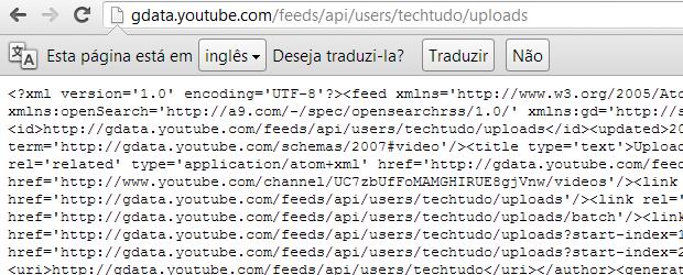 Não se assuste, é só o código do feed (Foto: Reprodução Thiago Barros)