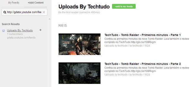 Eis o feed do canal do TechTudo no Feedly (Foto: Reprodução Thiago Barros)