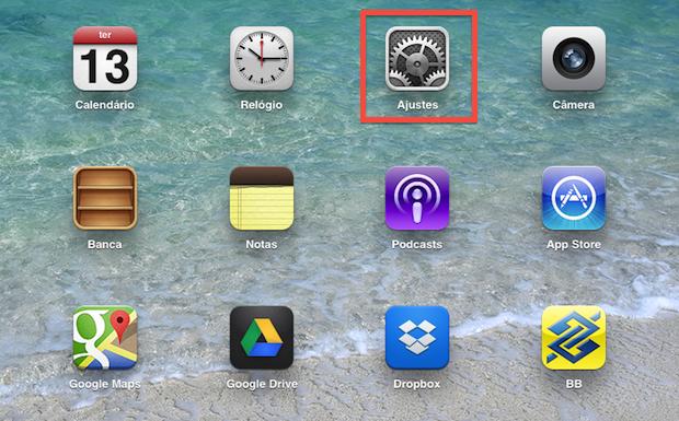 Acessando configurações do iOS (Foto: Reprodução/Helito Bijora)