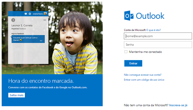 E-mail da Microsoft voltou a funcionar (Foto: Reprodução)