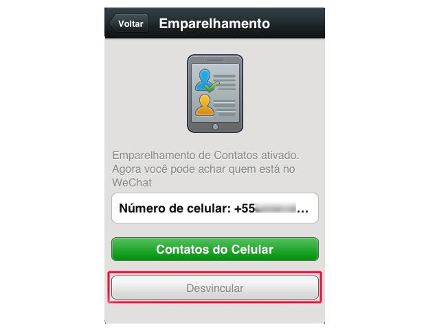 Desvinculando o atual número de telefone no WeChat (Foto: Reprodução/Marvin Costa)