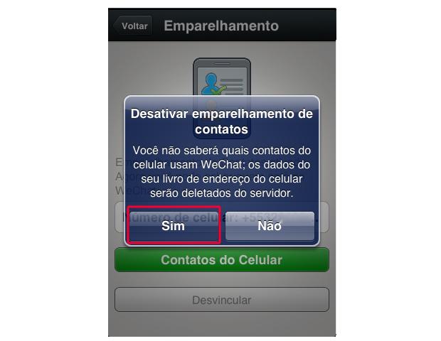 Desativando o emparelhamento de contatos no WeChat (Foto: Reprodução/Marvin Costa)