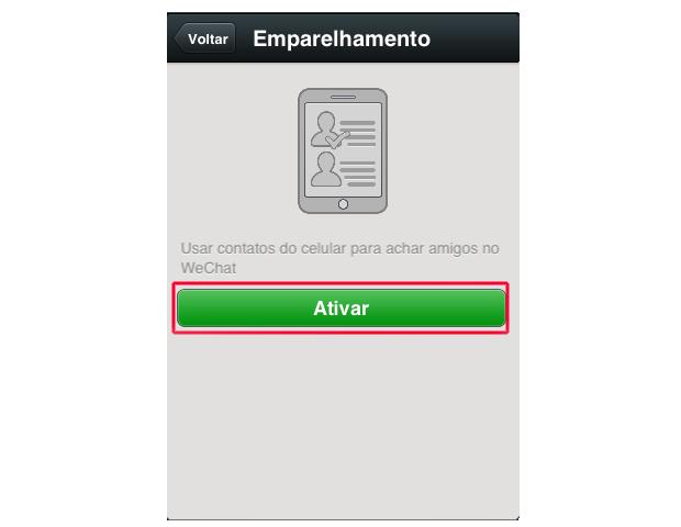 Ativando o novo emparelhamento de contatos WeChat (Foto: Reprodução/Marvin Costa)
