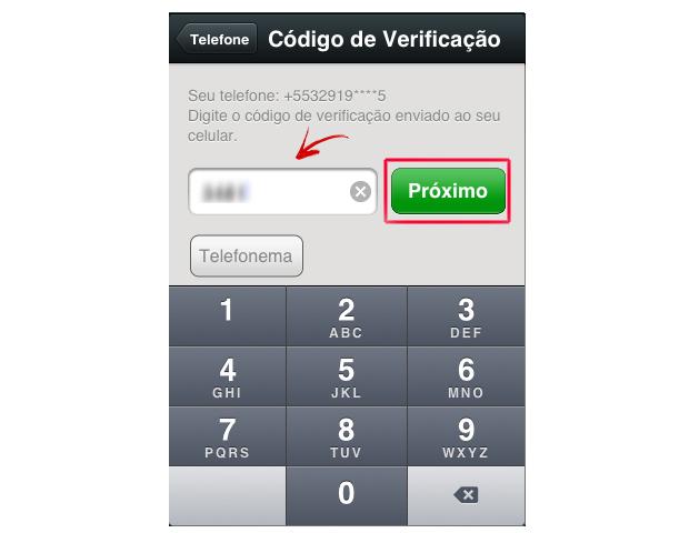 Inserindo o código de confirmação no WeChat (Foto: Reprodução/Marvin Costa)