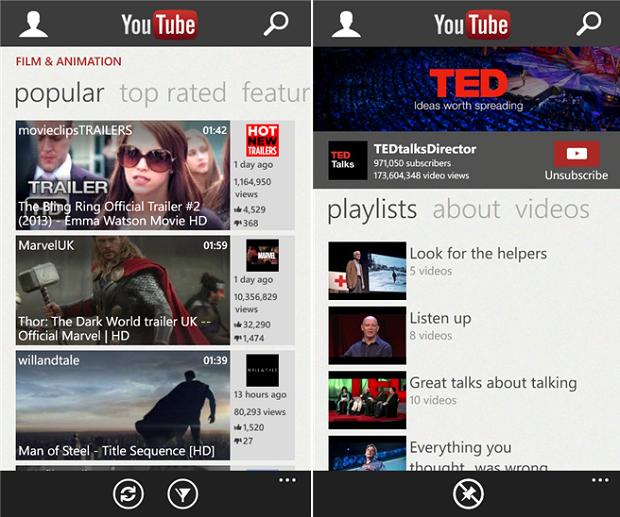 O app do YouTube no Windows Phone durou pouco: dois dias depois de ir ao ar, Google bloqueia novamente (Foto: Divulgação)