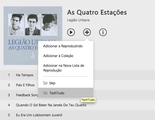 Adicionando um álbum a playlist (Foto: Reprodução/João Paulo Carrara)