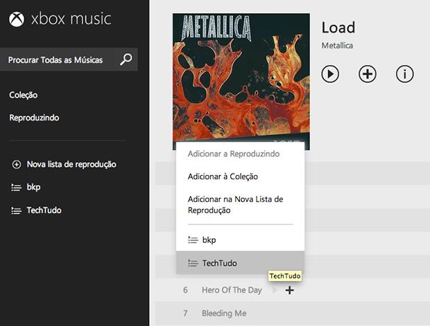 Adicionando uma música na playlist (Foto: Reprodução/João Paulo Carrara)
