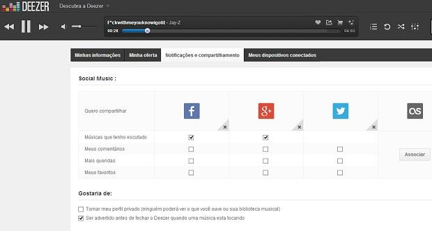 Deezer permite configuração de redes sociais (Foto: Reprodução Thiago Barros)