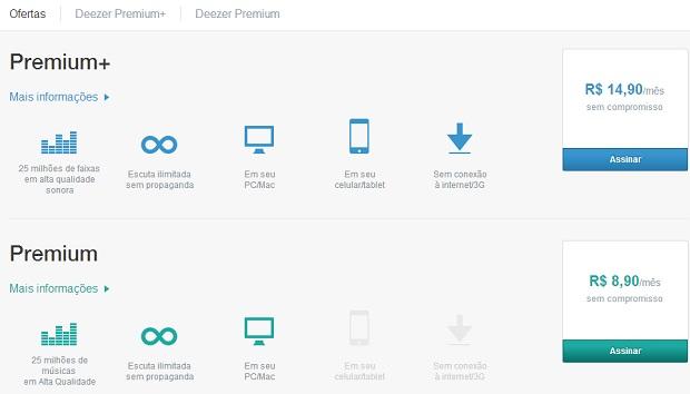 Caso queira aproveitar mais, assine o Deezer Premium+ (Foto: Reprodução Thiago Barros)