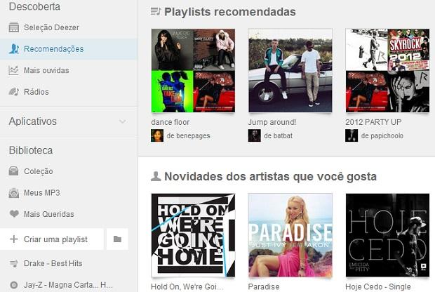 Deezer oferece recomendações personalizadas (Foto: Reprodução Thiago Barros)