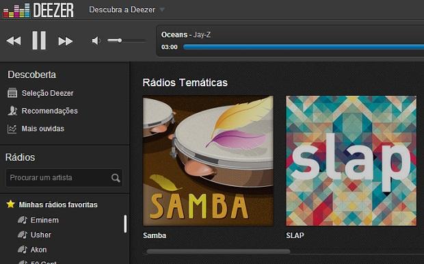 Deezer também oferece diversas rádios temáticas (Foto: Reprodução Thiago Barros)