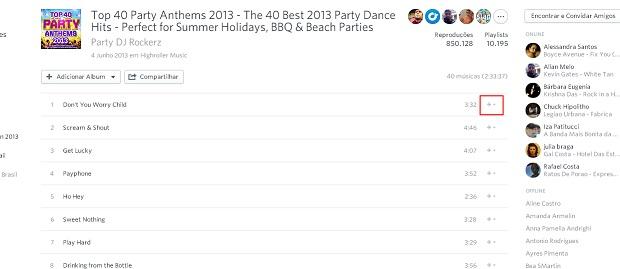"""Para criar uma playlist com apenas uma música clique no botão de """"+"""" (Reprodução/ Guilherme Godin)"""