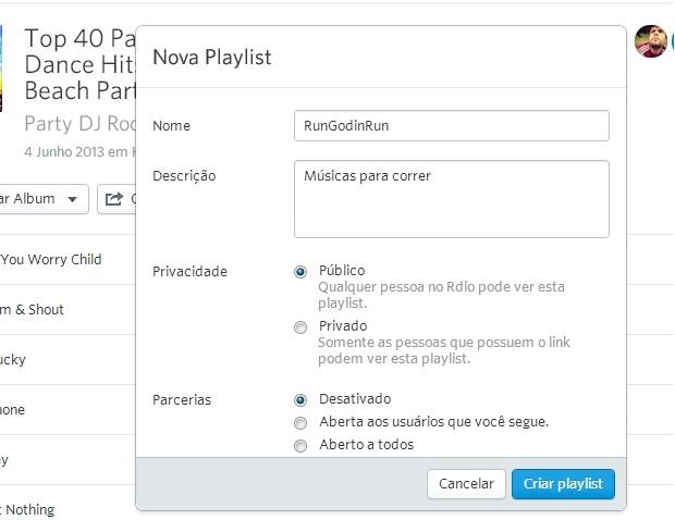 Configure a nova playlist (Reprodução/ Guilherme Godin)