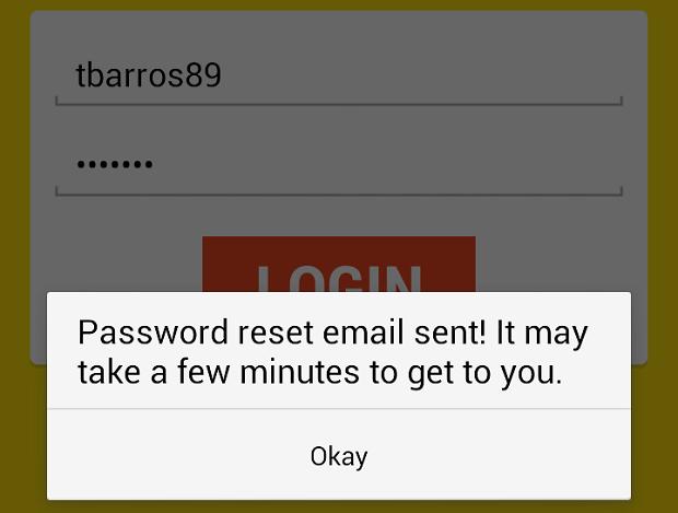 App envia e-mail com instruções para mudar a senha (Foto: Reprodução Thiago Barros)