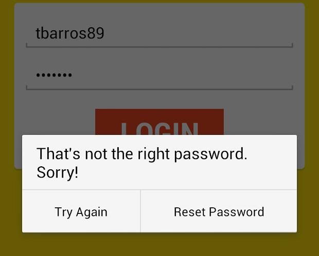 Para trocar senha, comece fazendo login com dados errados (Foto: Reprodução Thiago Barros)