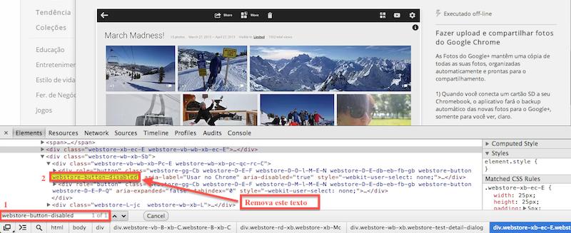 """Encontre e apague o texto """"webstore-button-disabled"""" (Foto: Reprodução/Thiago Bittencourt) (Foto: Encontre e apague o texto """"webstore-button-disabled"""" (Foto: Reprodução/Thiago Bittencourt))"""