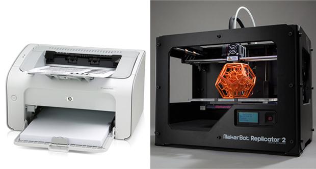 Impressora convencional e 3D