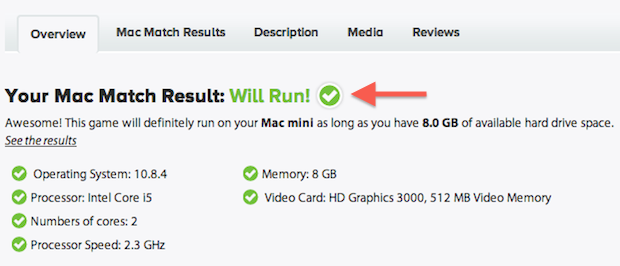 GameAgent informa se o Mac roda ou não o Mavericks (Foto: Reprodução/Helito Bijora)