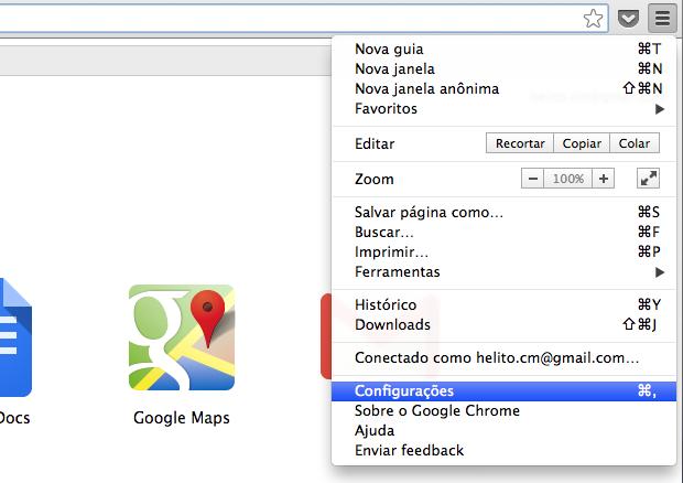 Acessando configurações do Chrome (Foto: Reprodução/Helito Bijora)