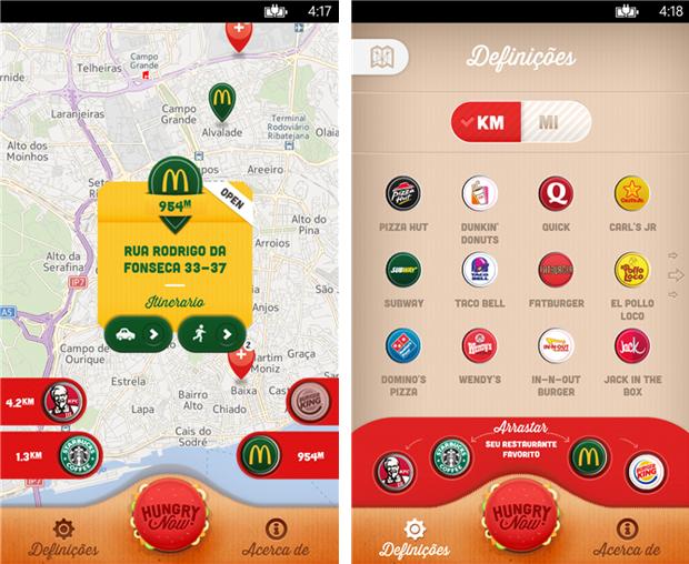Hugry Now encontra o fast foods mais próximo de você (Foto: Divulgação)
