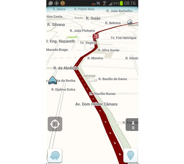 Esta é a tela principal do Waze (Foto: Reprodução/Aline Jesus)