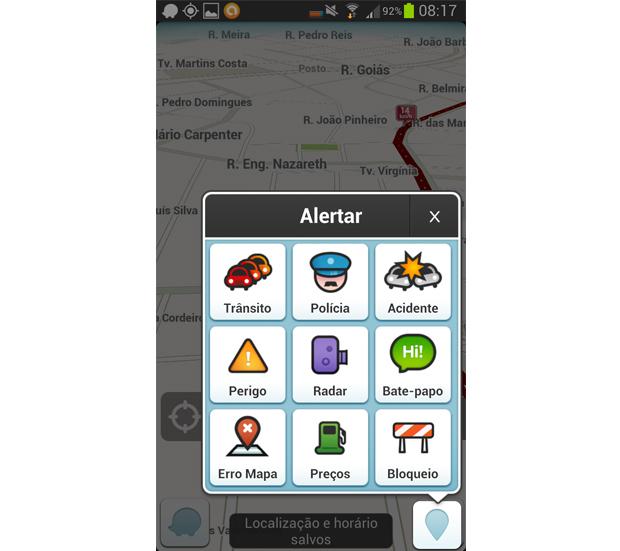 Este é o menu de reportes de problemas no trânsito (Foto: Reprodução/Aline Jesus)