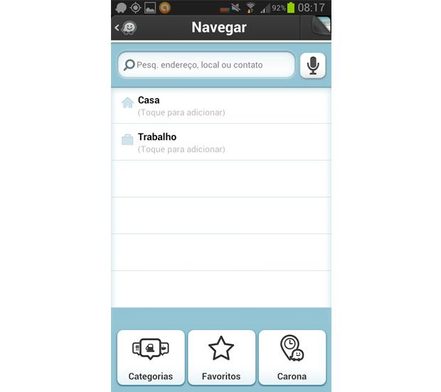 Navegação tem opções de categorias e de busca por endereço (Foto: Reprodução/Aline Jesus)