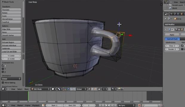 Modelagem 3D de uma xícara no software Blender (Foto: Reprodução)