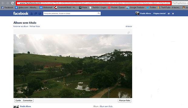 Abra a imagem em outra aba e copie o endereço e o link da foto (Foto: Reprodução / Paulo Alves)