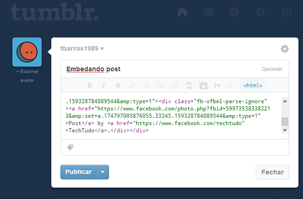 Cole o código no painel de publicações do seu blog (Foto: Reprodução/Thiago Barros)