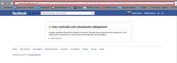 O link do Facebook não mostra mais a imagem depois de apagada (Foto: Reprodução / Paulo Alves)