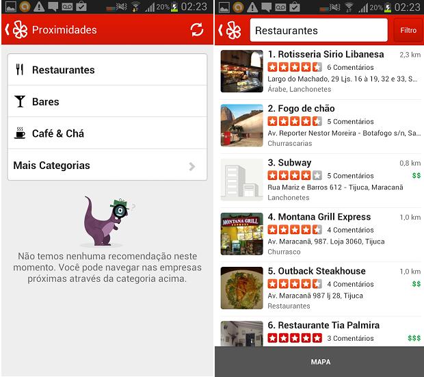 Usuário pode fazer buscas categorizadas no Yelp (Foto: Reprodução/Thiago Barros)
