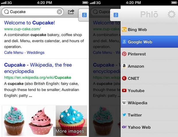 Faça pesquisas em qualquer motor de busca com o Phlo (Foto: Divulgação)