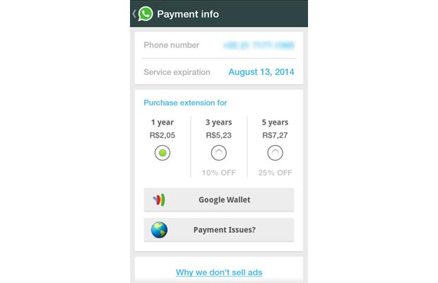 Para evitar publicidade, WhatsApp optou cobrar pelo serviço (foto: Reprodução/João Kurtz)