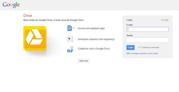 Acessando o Google Drive (Foto: Reprodução/Teresa Furtado)