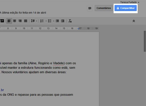 Acessando o menu de compartilhamentos no Google Drive (Foto: Reprodução/Teresa Furtado)