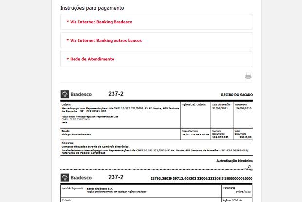 Boleto aparece no site da instituição financeira (Foto: Reprodução/Thiago Barros)