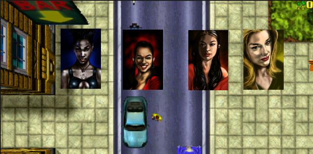 Divine, Katie, Mikki e Ulrika, as protagonistas femininas do GTA Original (Foto: Divulgação)