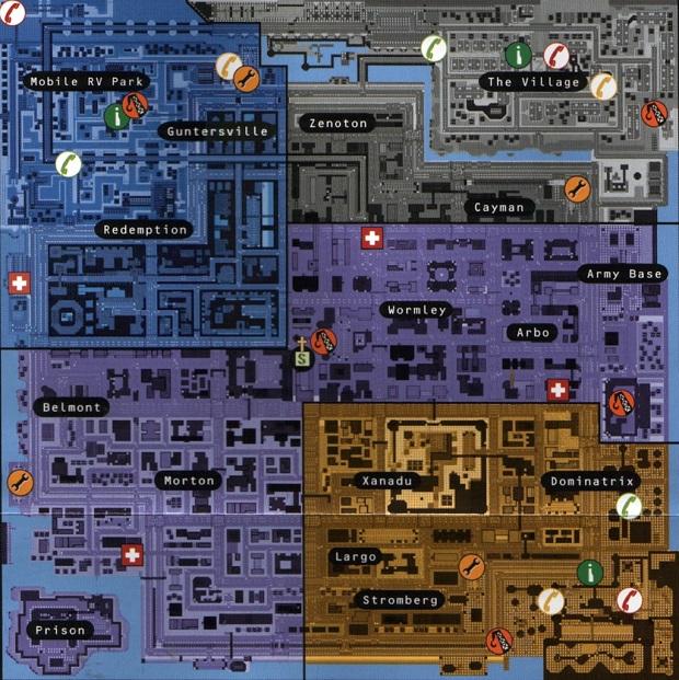 O mapa da futurista Anywhere City de GTA 2 (Foto: Divulgação)