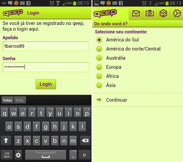 Qeep pergunta dados ao fazer login (Foto: Reprodução/Thiago Barros)
